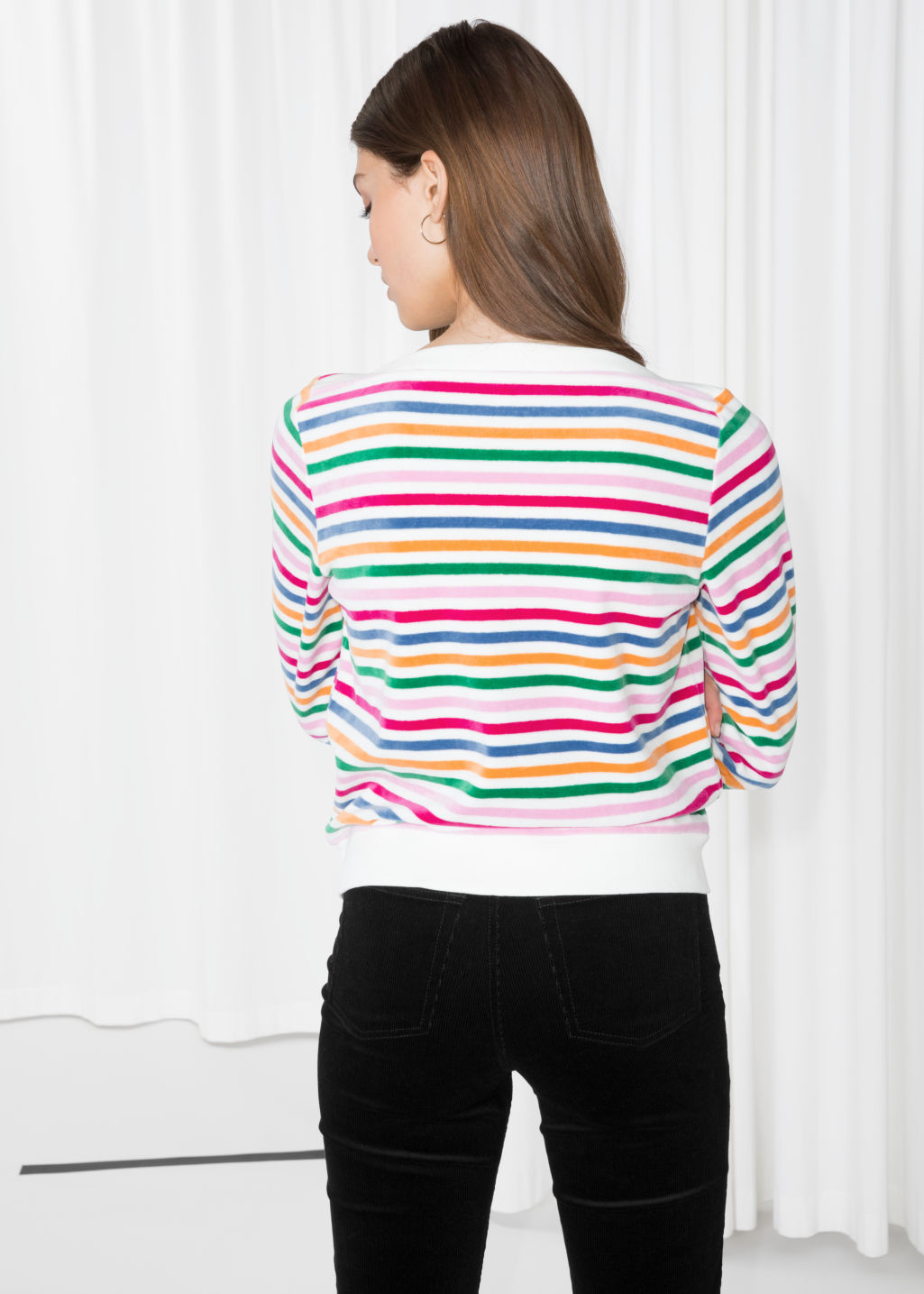 Model back image of Stories bateau neck top in white