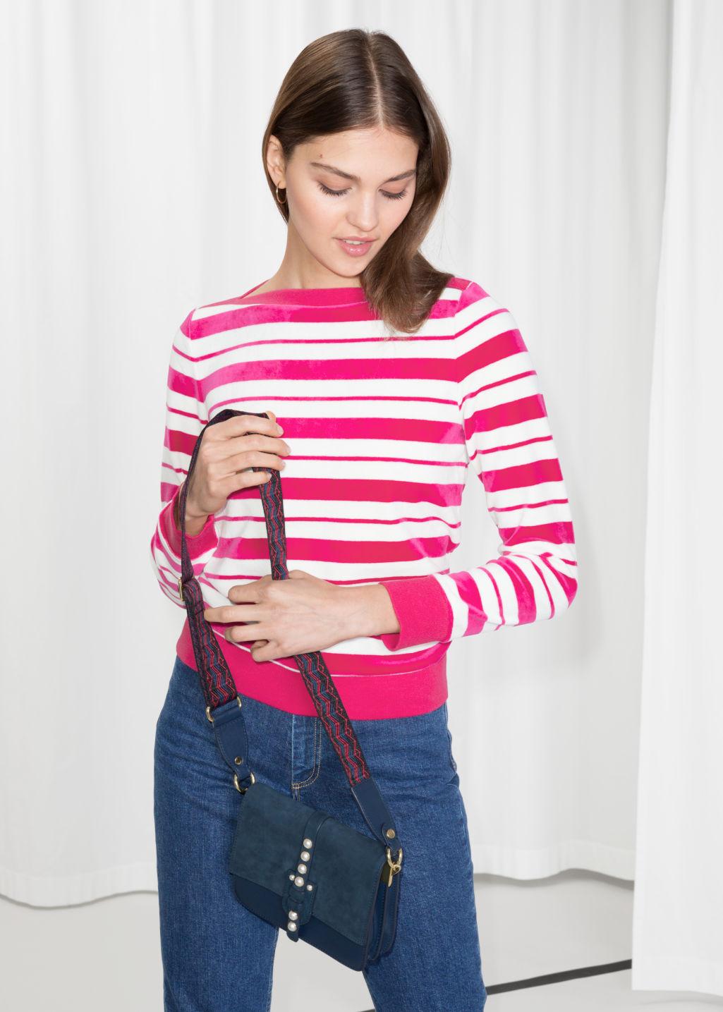 Model front image of Stories bateau neck top in pink