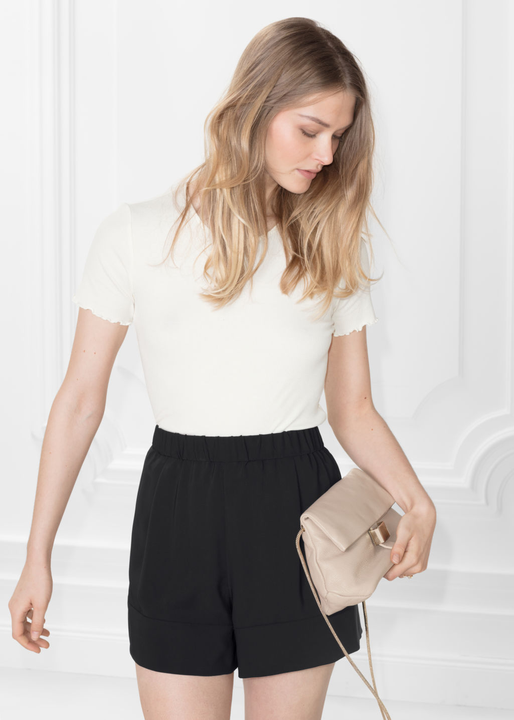 Model front image of Stories cotton jersey tee with frills  in white