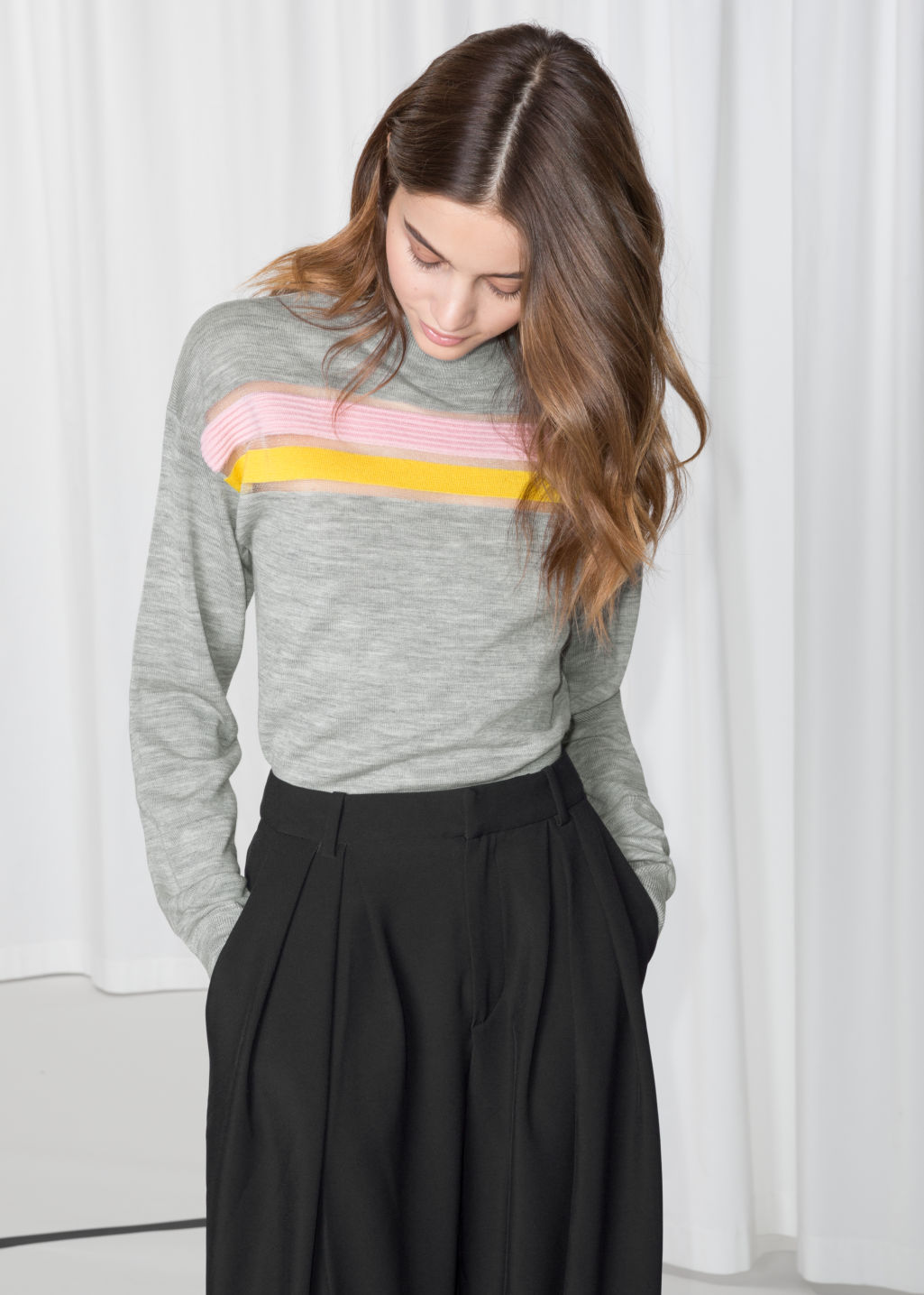 Model front image of Stories colour block wool sweater in grey