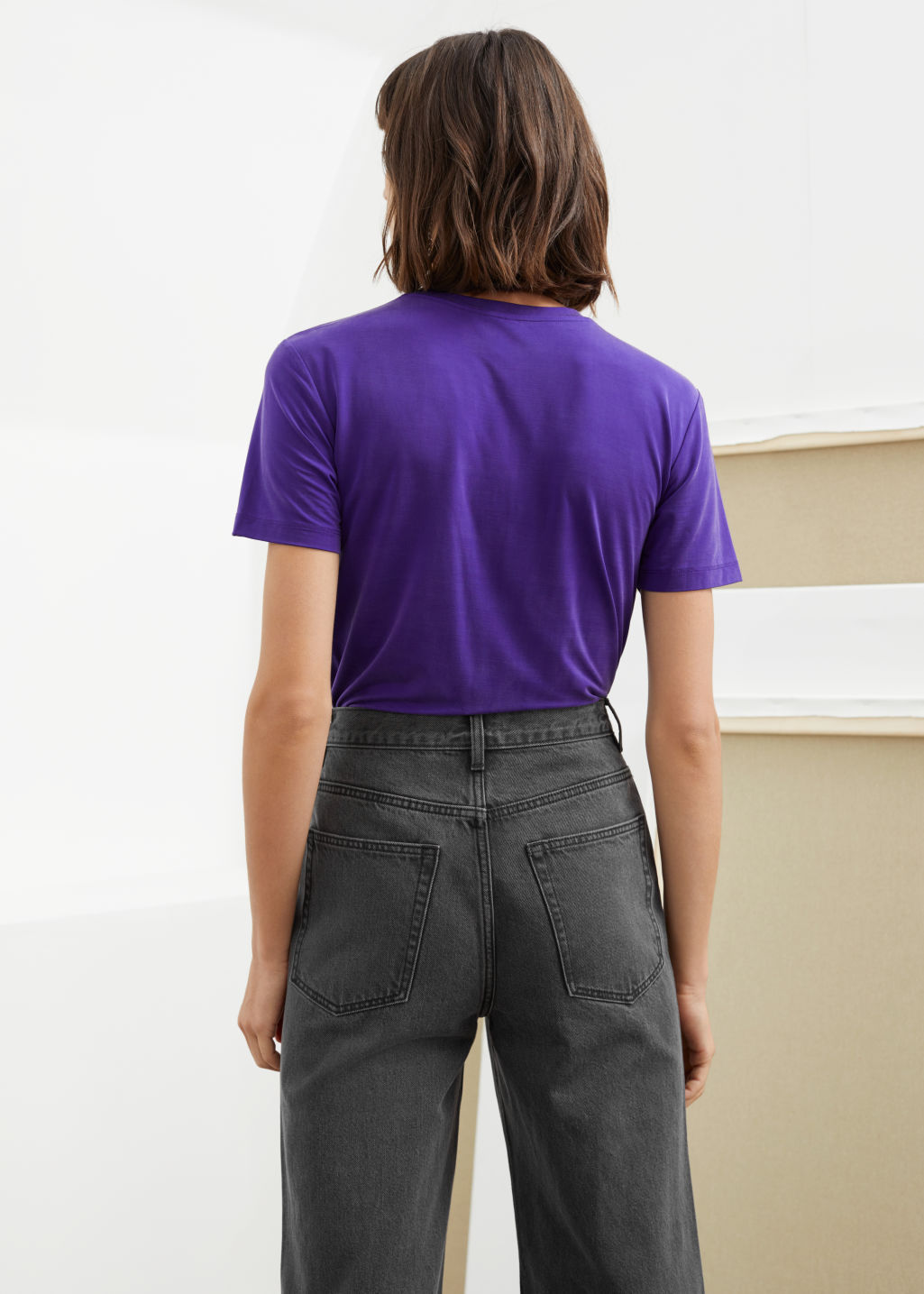 Model back image of Stories cupro t-shirt in purple