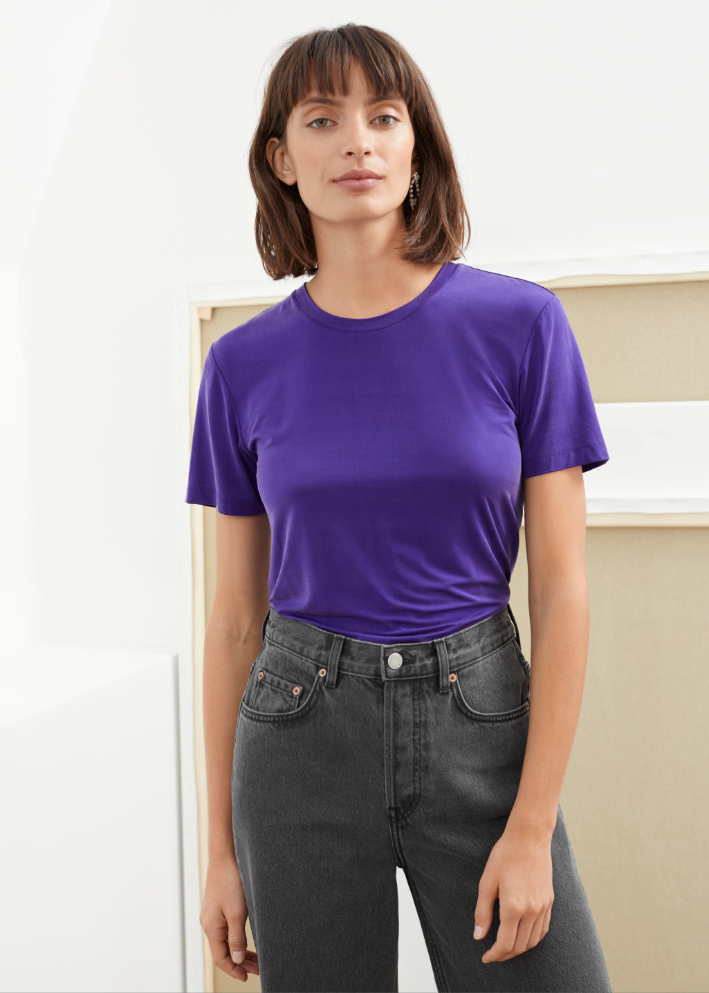 Model front image of Stories cupro t-shirt in purple