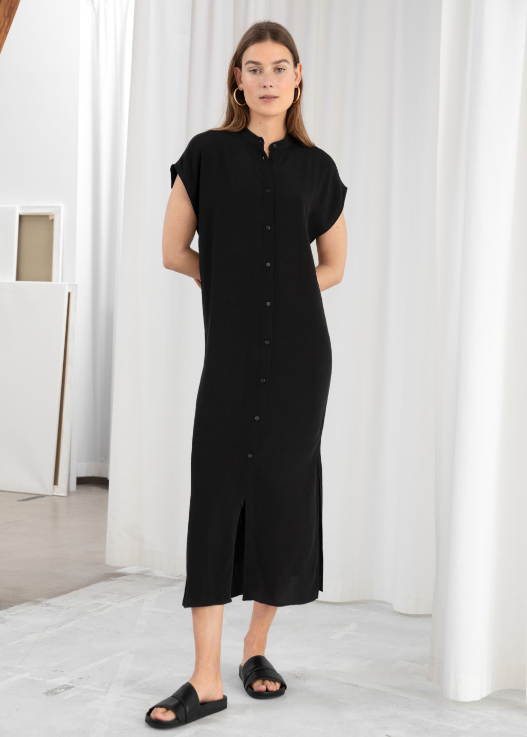 Model front image of Stories maxi shirt dress in black