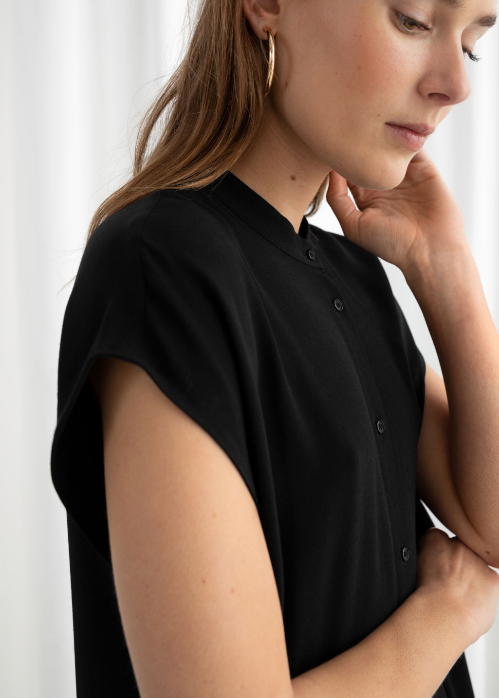 Model back image of Stories maxi shirt dress in black