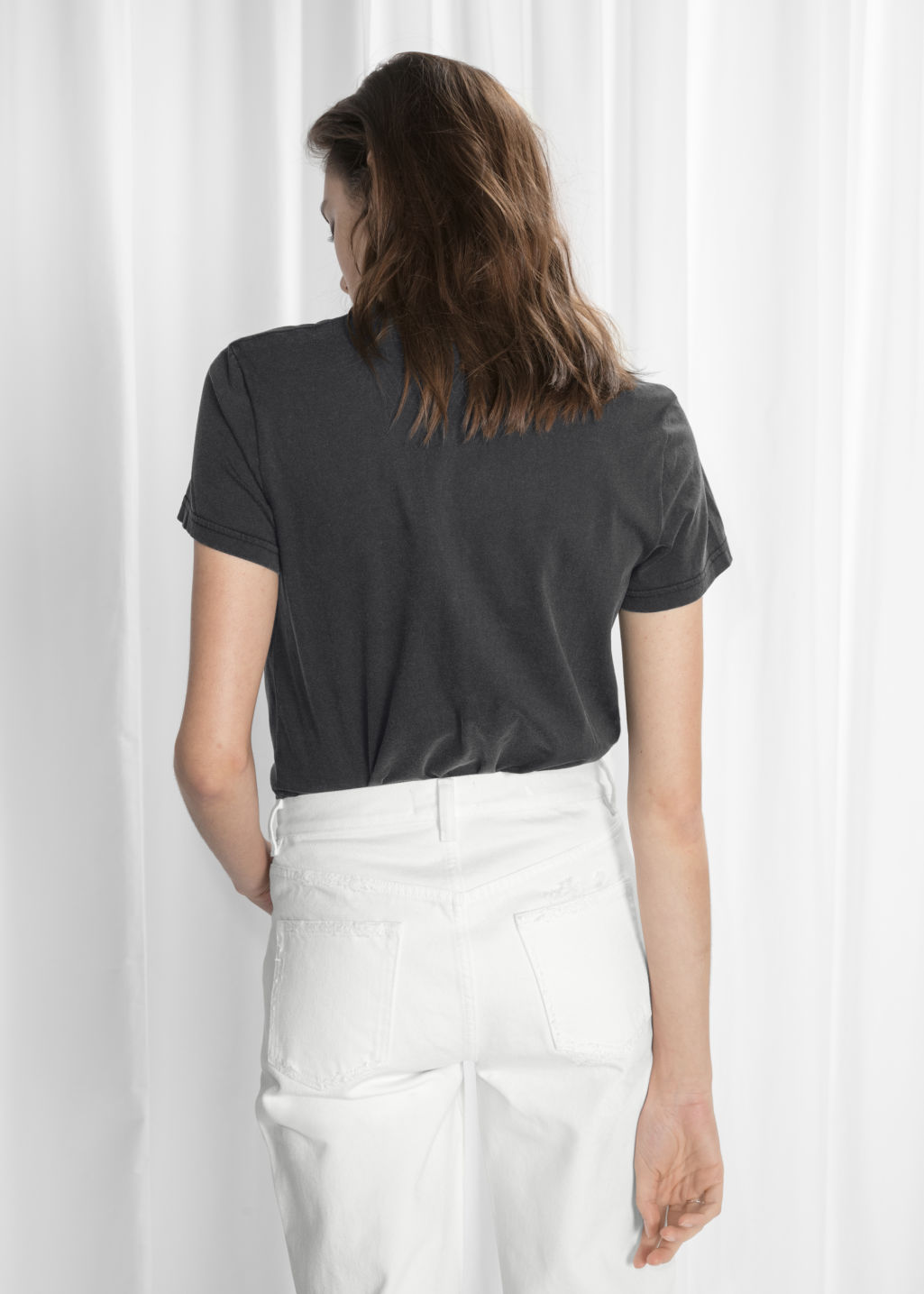 Model back image of Stories pocket t-shirt in black