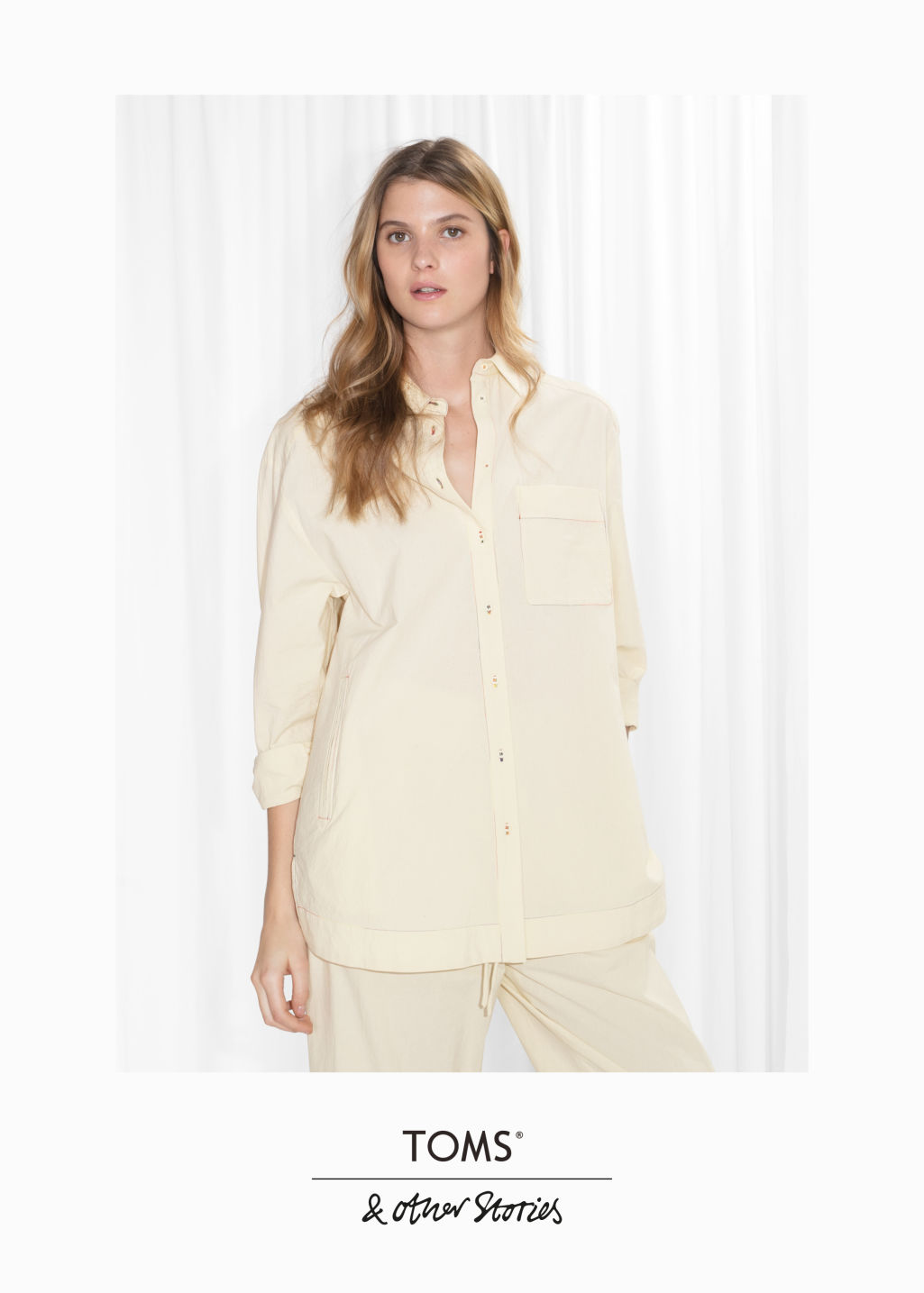 Model front image of Stories toms cotton shirt in beige