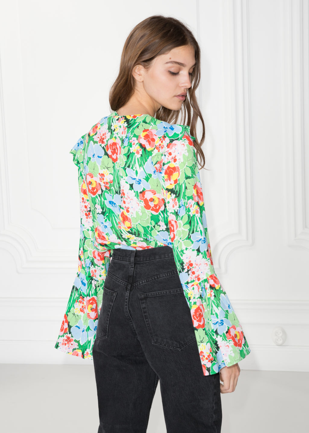 Model back image of Stories wide sleeve frilled blouse in black