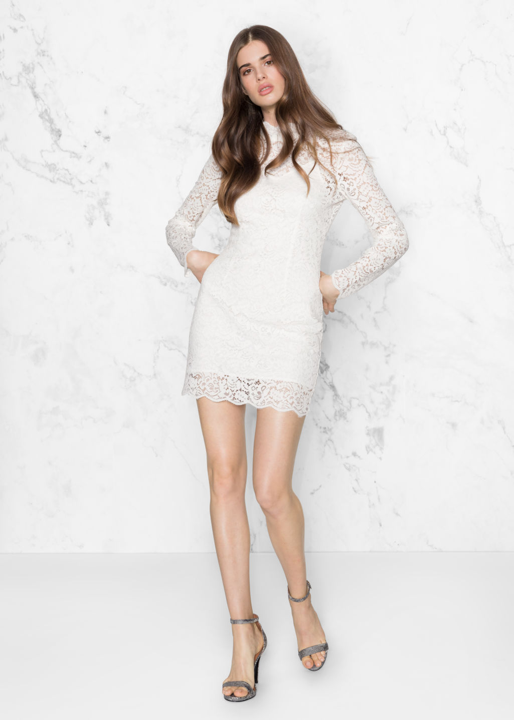 Model front image of Stories cut out little black lace dress  in white