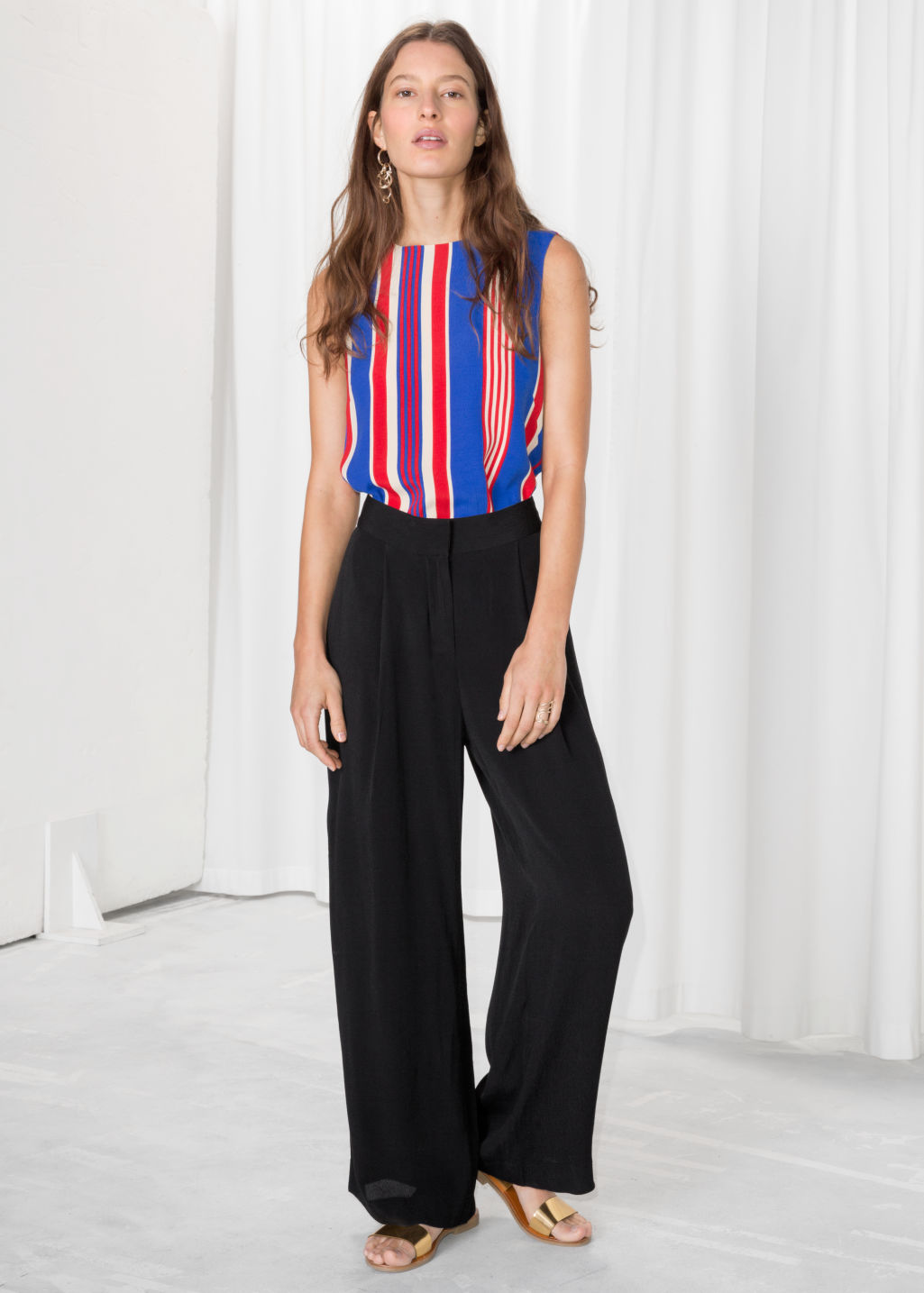 Model front image of Stories wide leg trousers in black