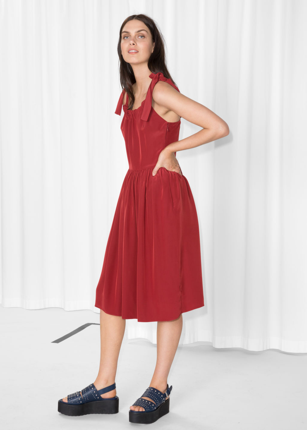 Model front image of Stories tie strap dress in red