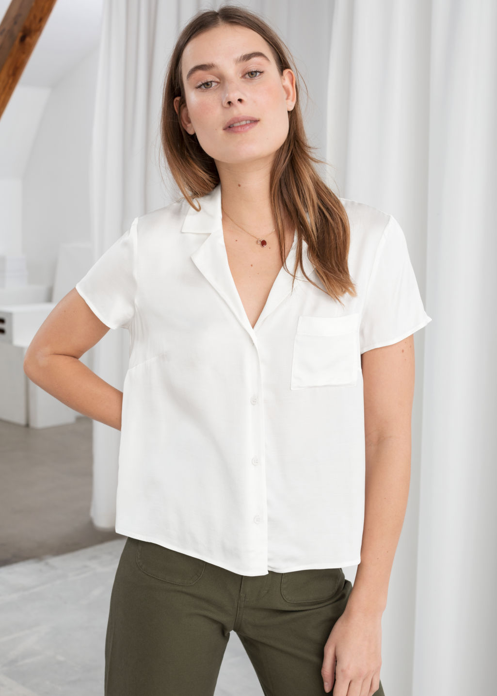 Model front image of Stories relaxed fit retro shirt in white