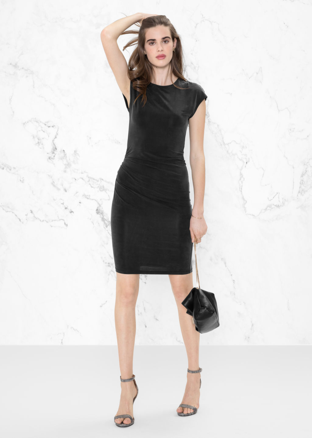 Model front image of Stories cupro dress in black