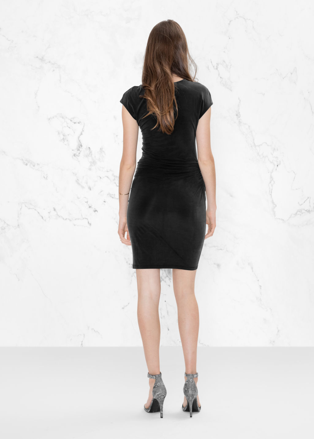 Model back image of Stories cupro dress in black