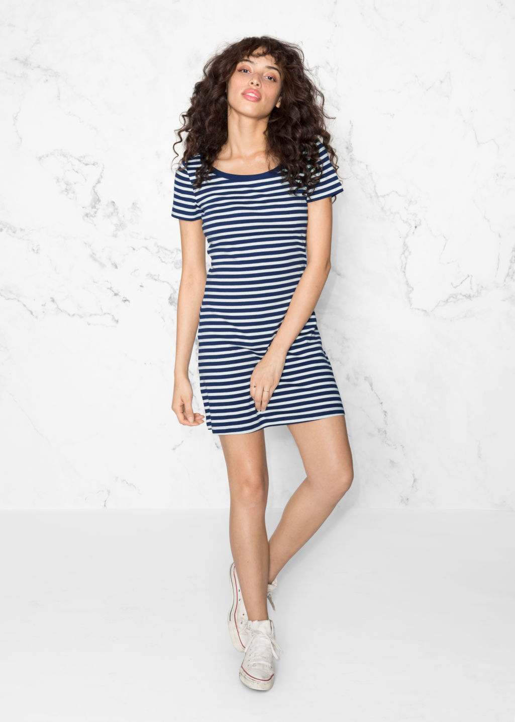 Model front image of Stories marine organic cotton dress in blue