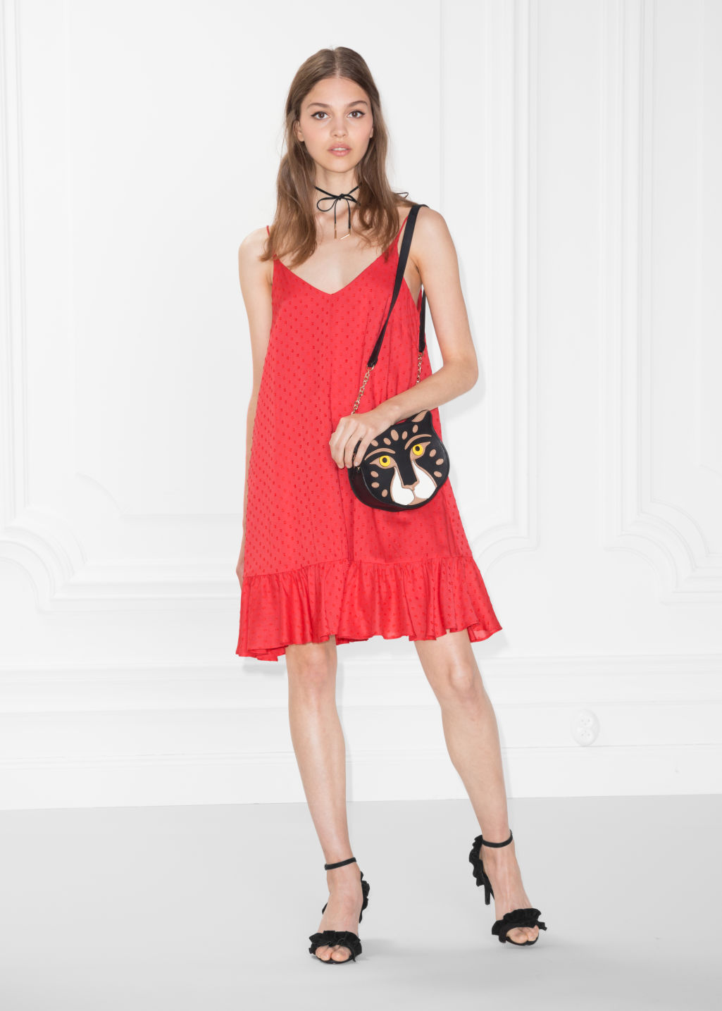Model front image of Stories plumeti dress in red