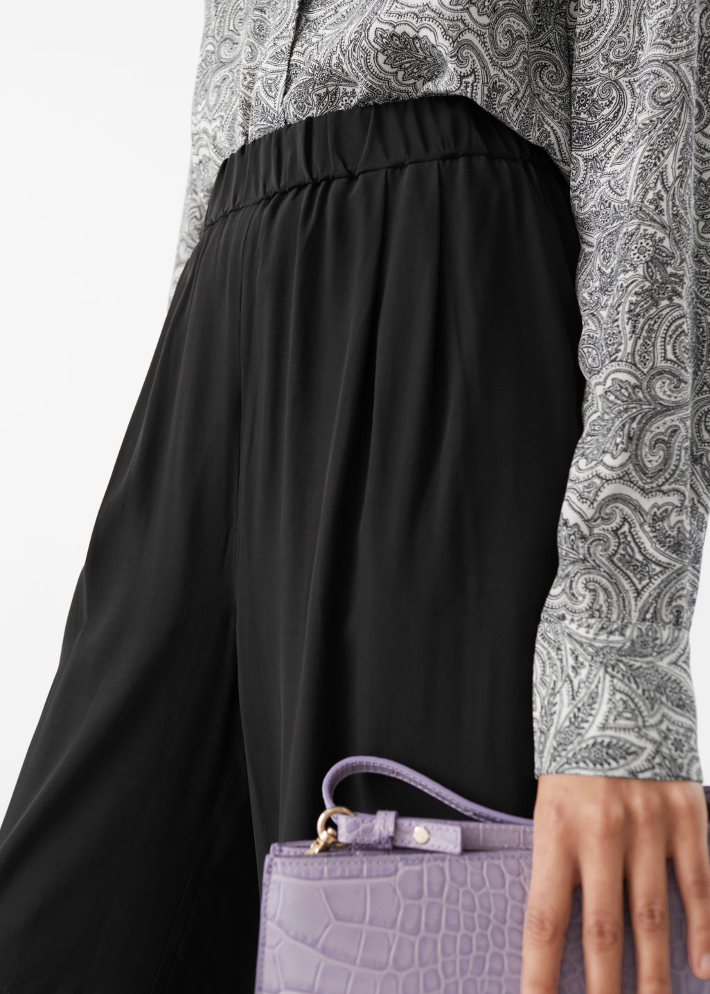 Model front image of Stories high waisted culottes in black