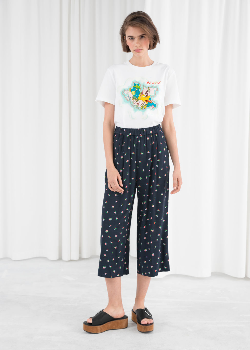 Model front image of Stories high waisted culottes in blue