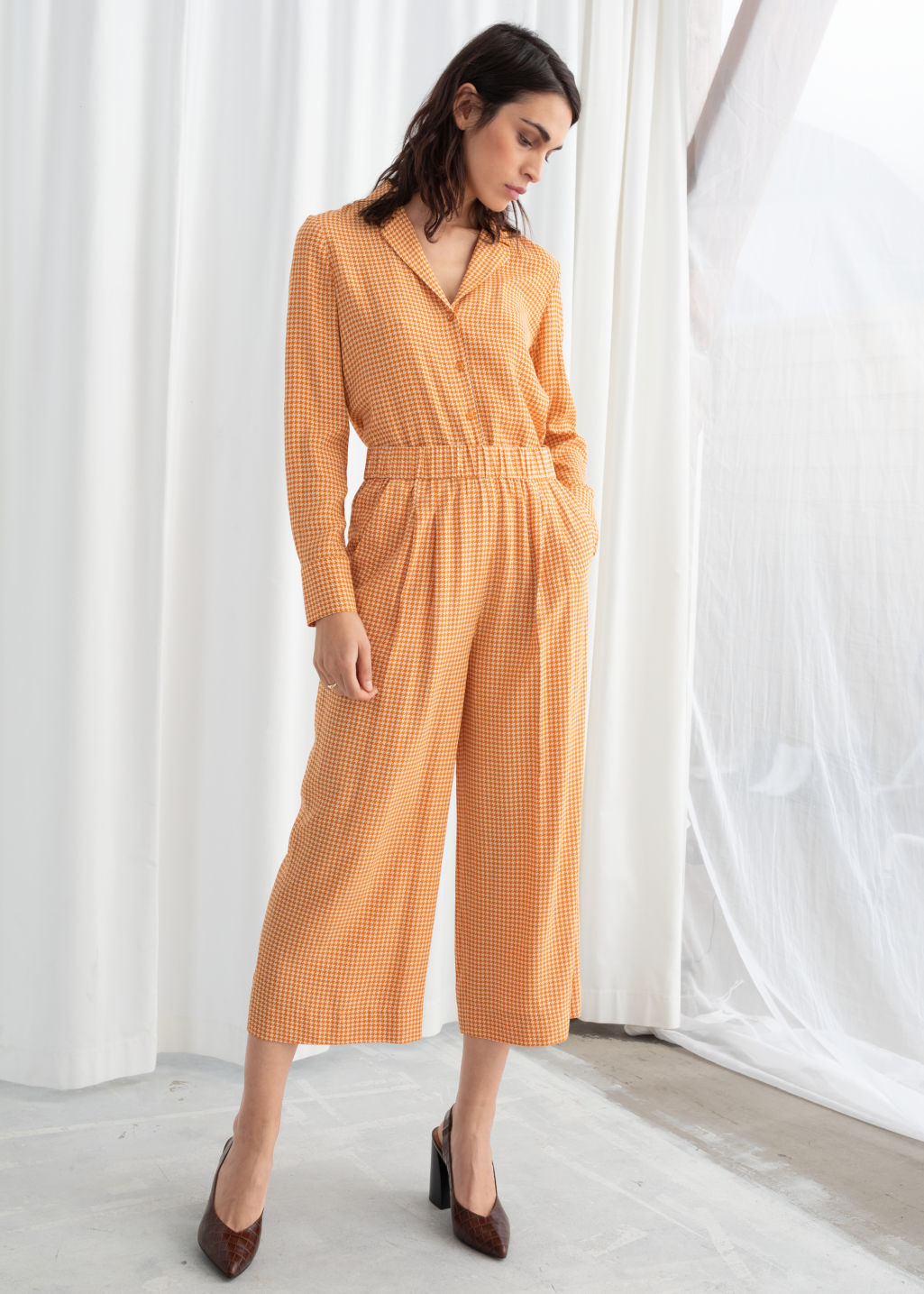 Model front image of Stories high waisted culottes in yellow