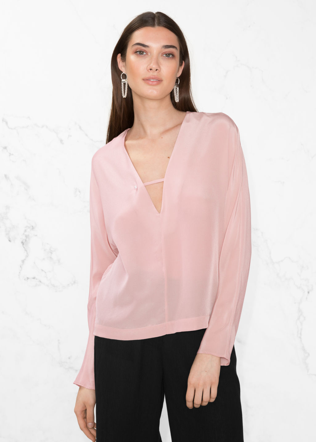 Model front image of Stories silk blouse in pink