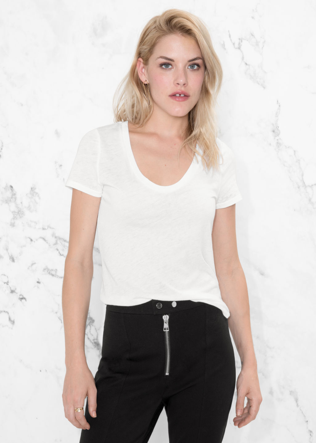 Model front image of Stories round neck jersey t-shirt in white