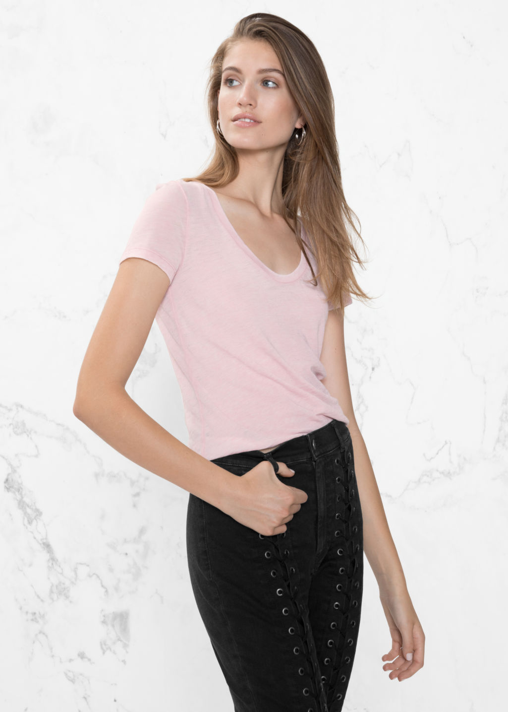 Model front image of Stories round neck jersey t-shirt in pink
