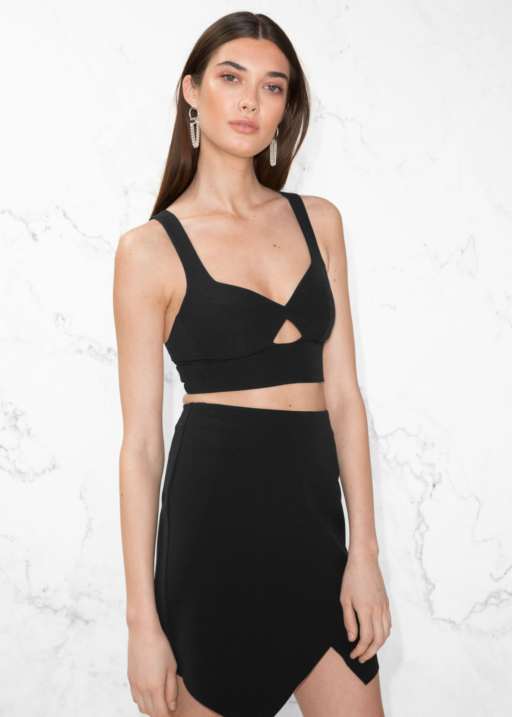Model front image of Stories side panel bustier in black