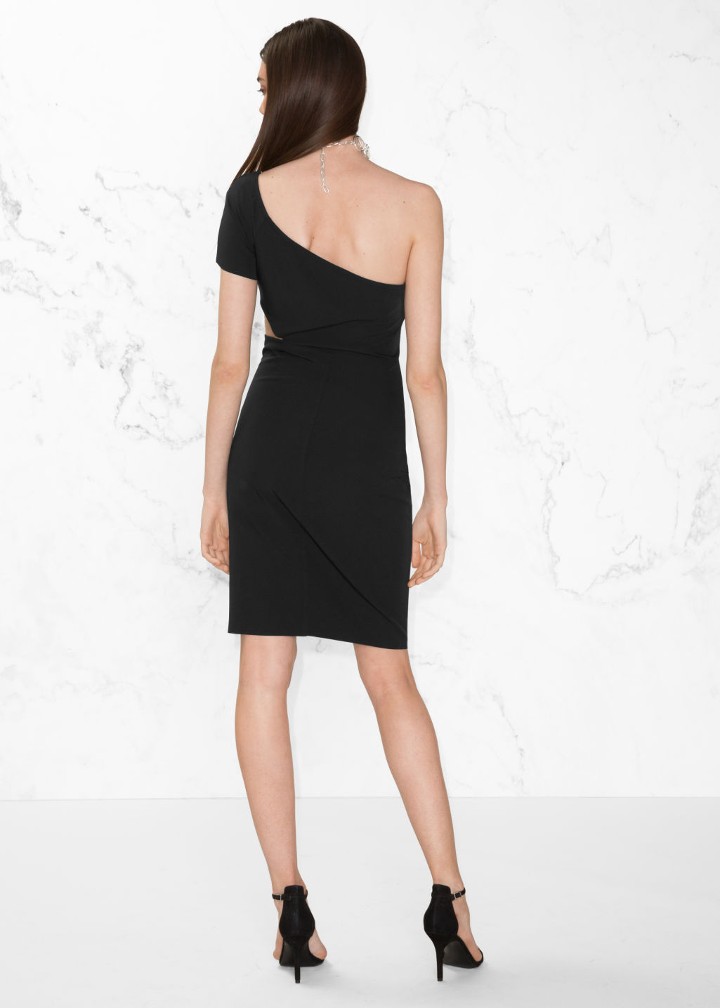Model back image of Stories one shoulder dress in black