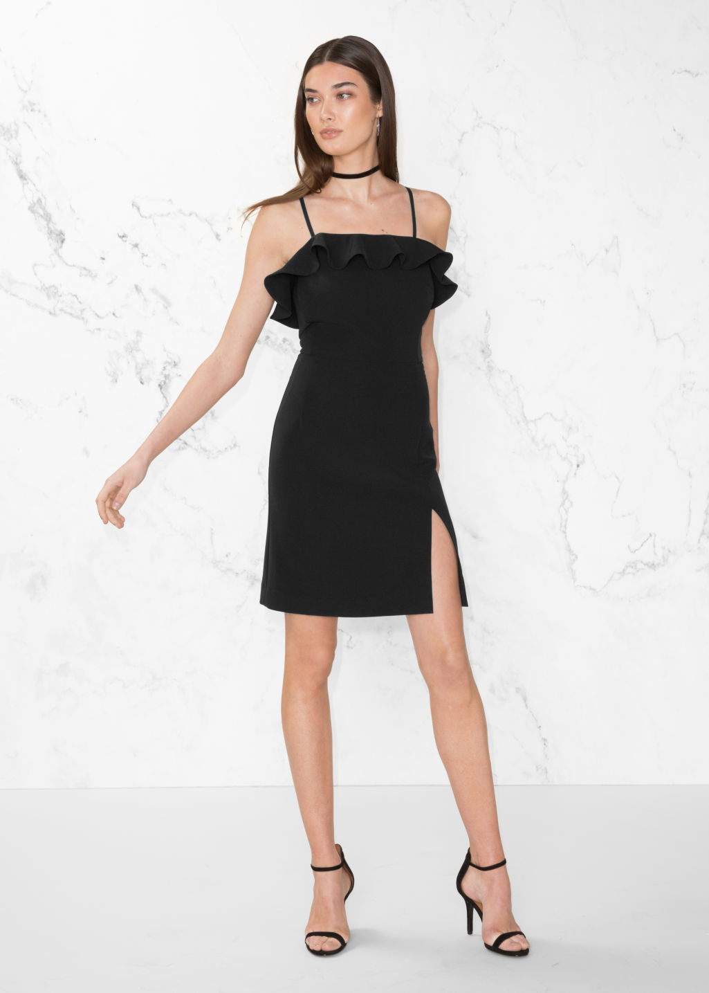 Model front image of Stories frill mini dress in black