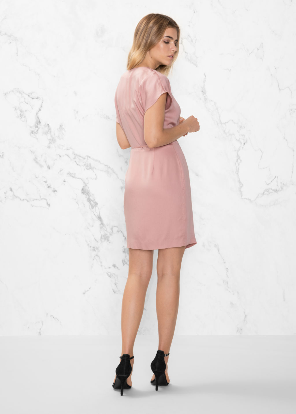 Model back image of Stories wrap dress in pink