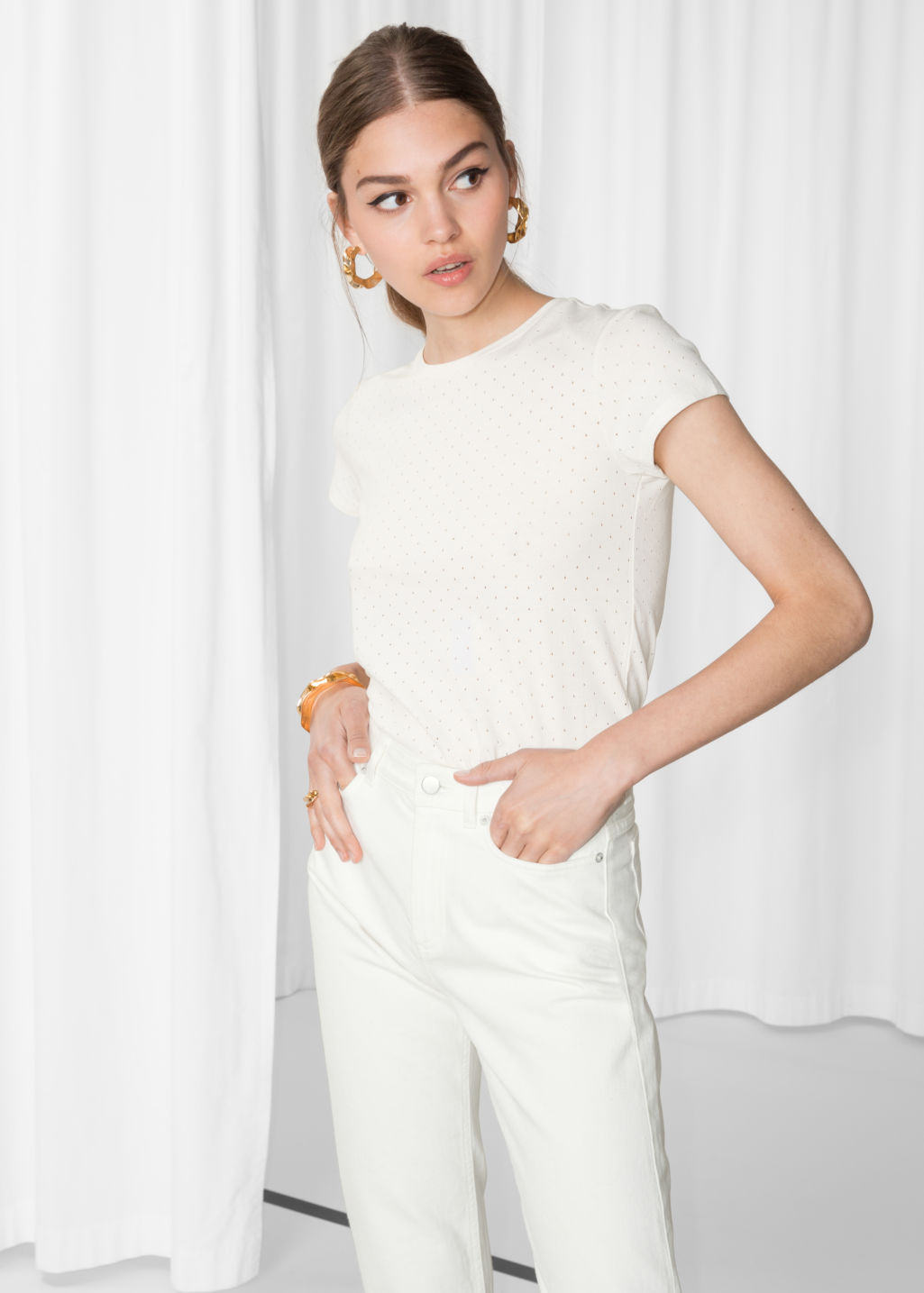 Model front image of Stories perforated t-shirt in white