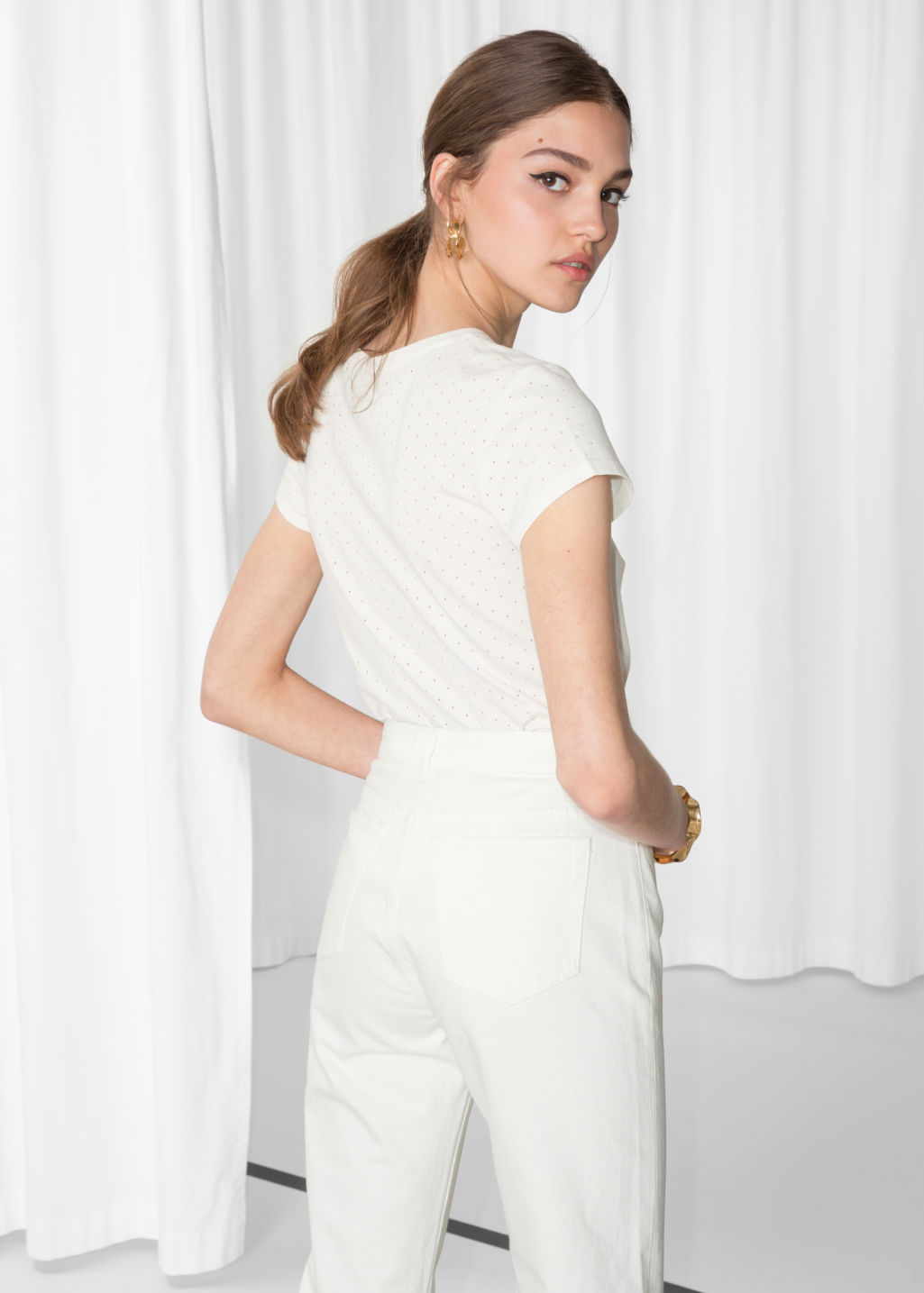 Model back image of Stories perforated t-shirt in white