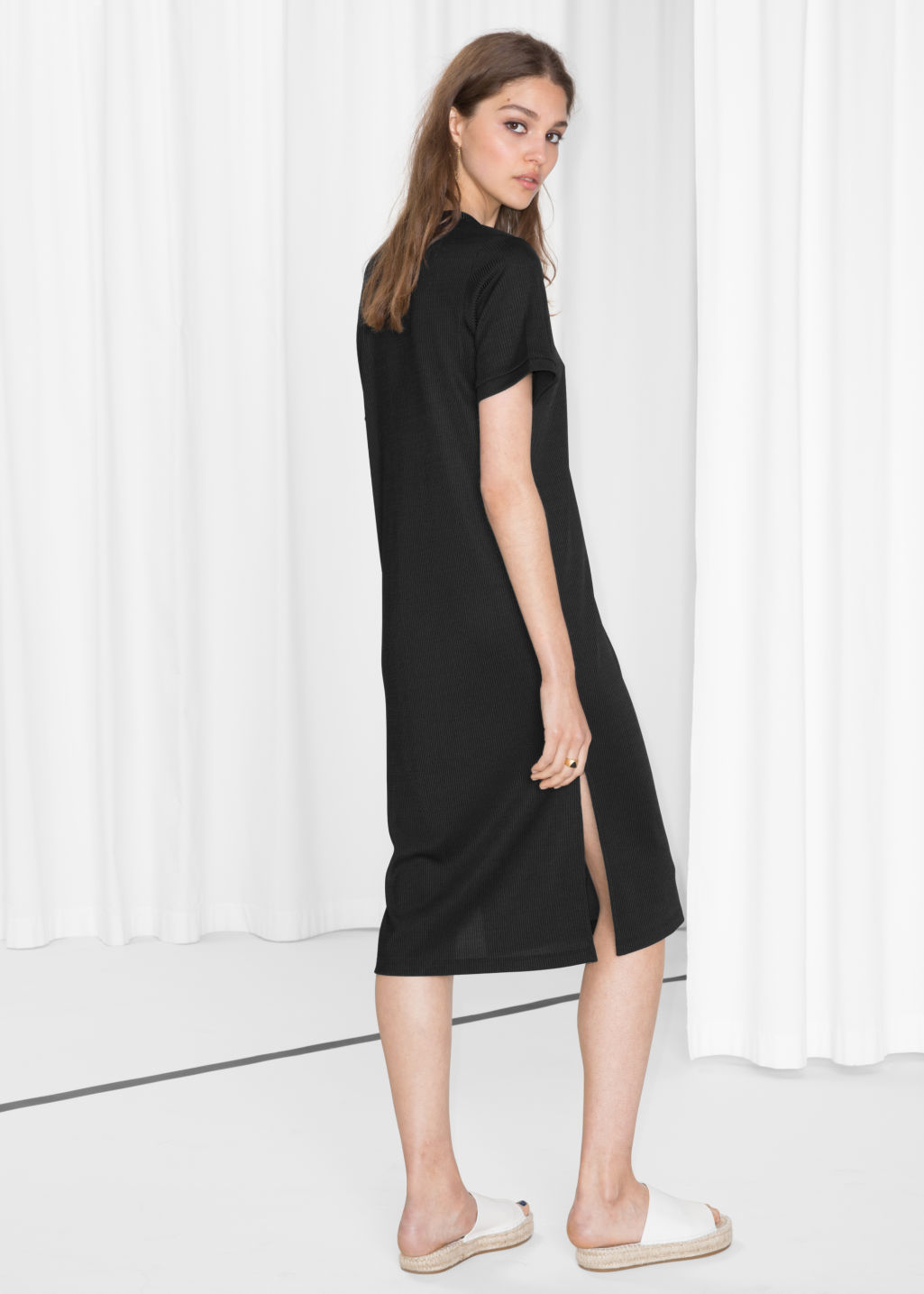 Model back image of Stories oversized t-shirt dress in black
