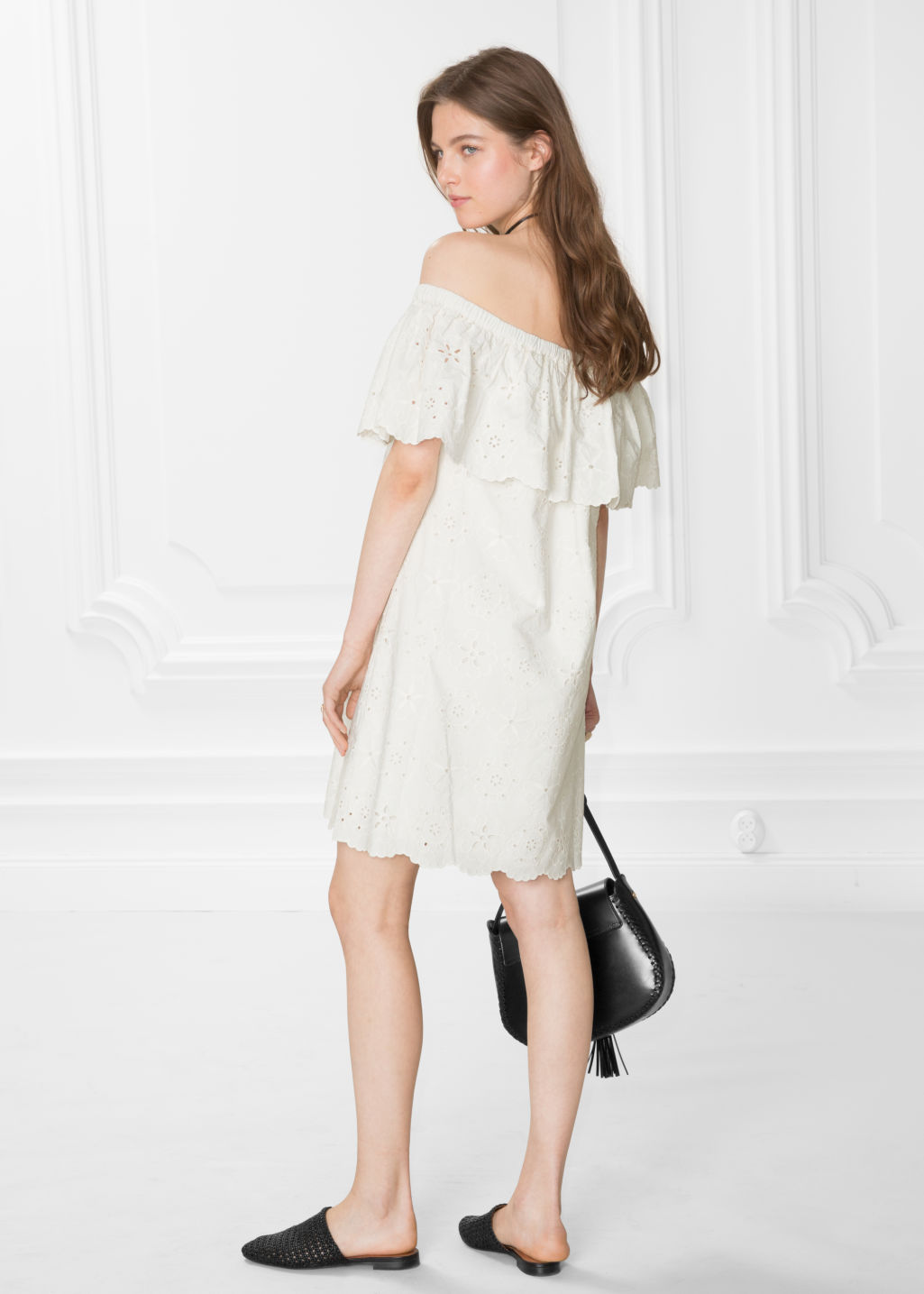 Model back image of Stories embroidery frill dress in white