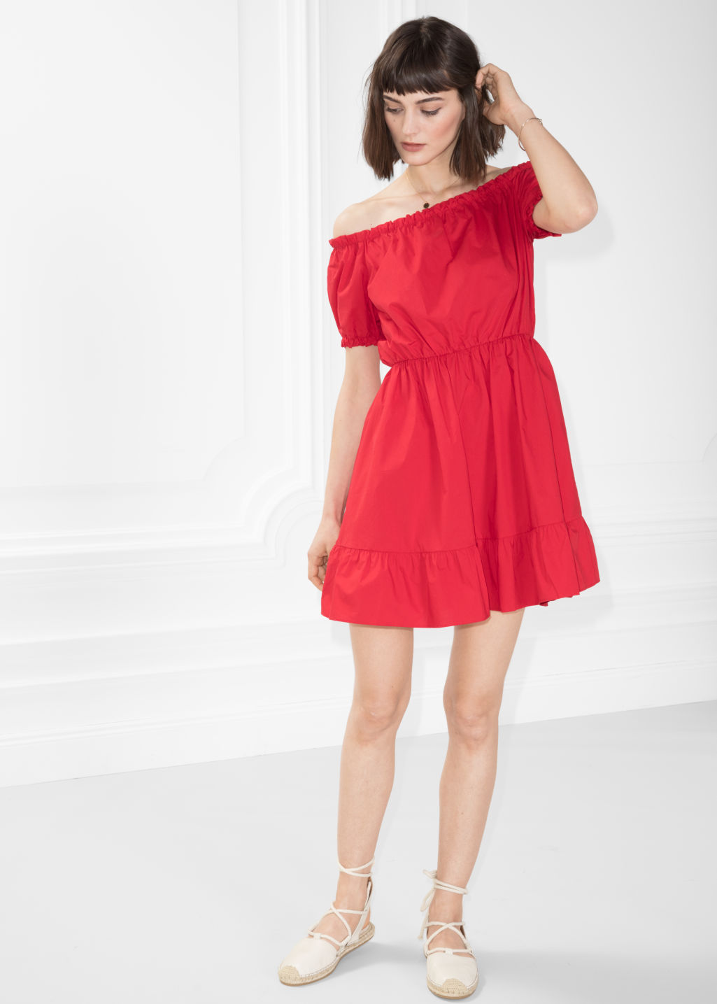 Model front image of Stories off-shoulder dress in red