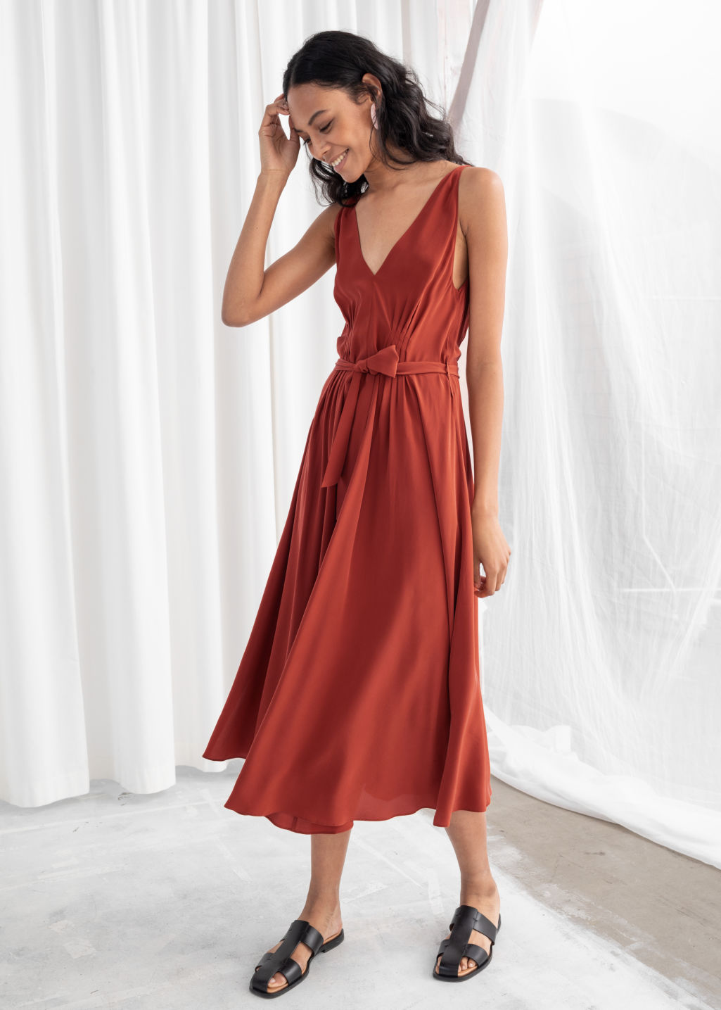 Model front image of Stories belted silk midi dress in red