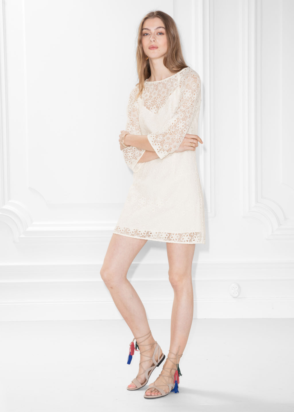 Model front image of Stories floral lace dress in white