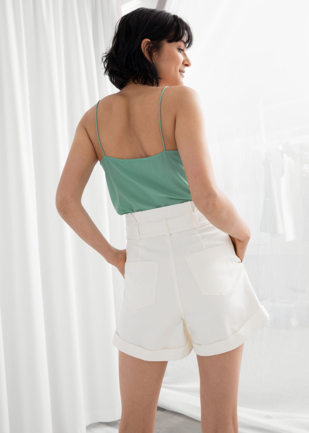 Model back image of Stories silk camisole top in green