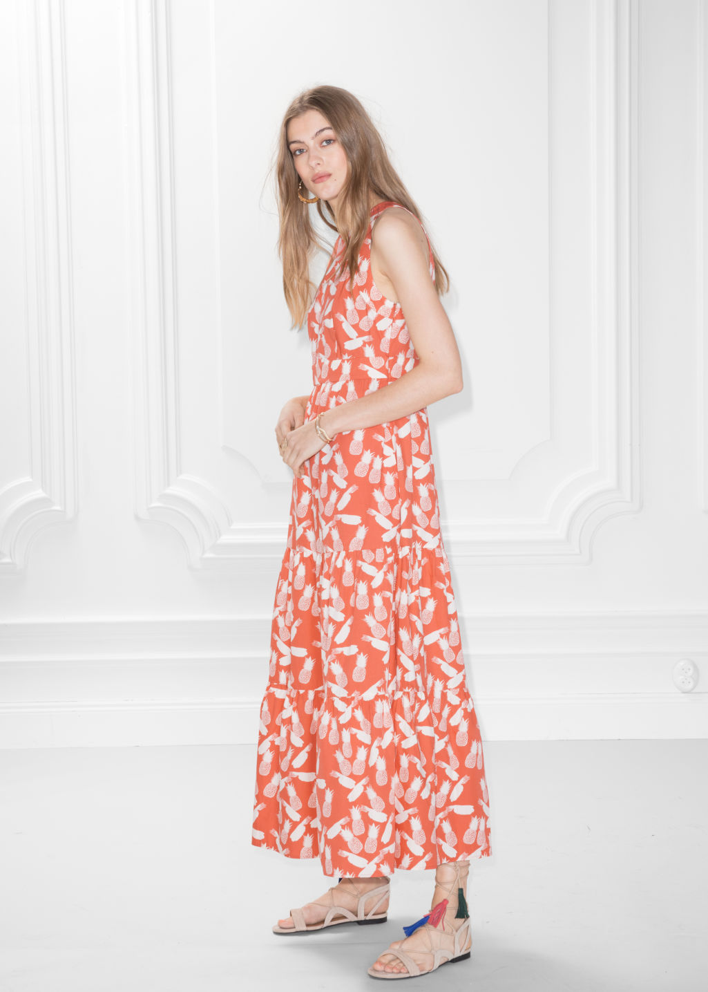 Model front image of Stories pineapple print dress in orange