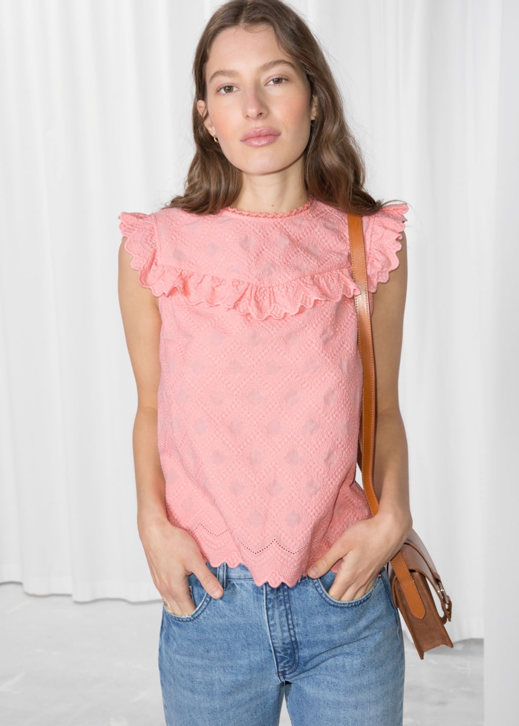 Model front image of Stories frilled sleeveless top in pink