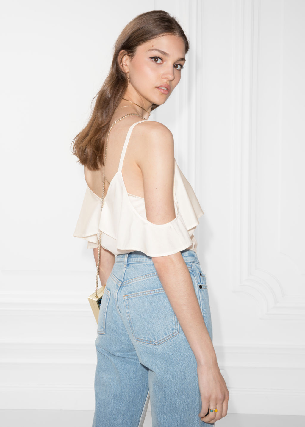 & OTHER STORIES Frill Off-Shoulder Top Aaa Quality bkFRG
