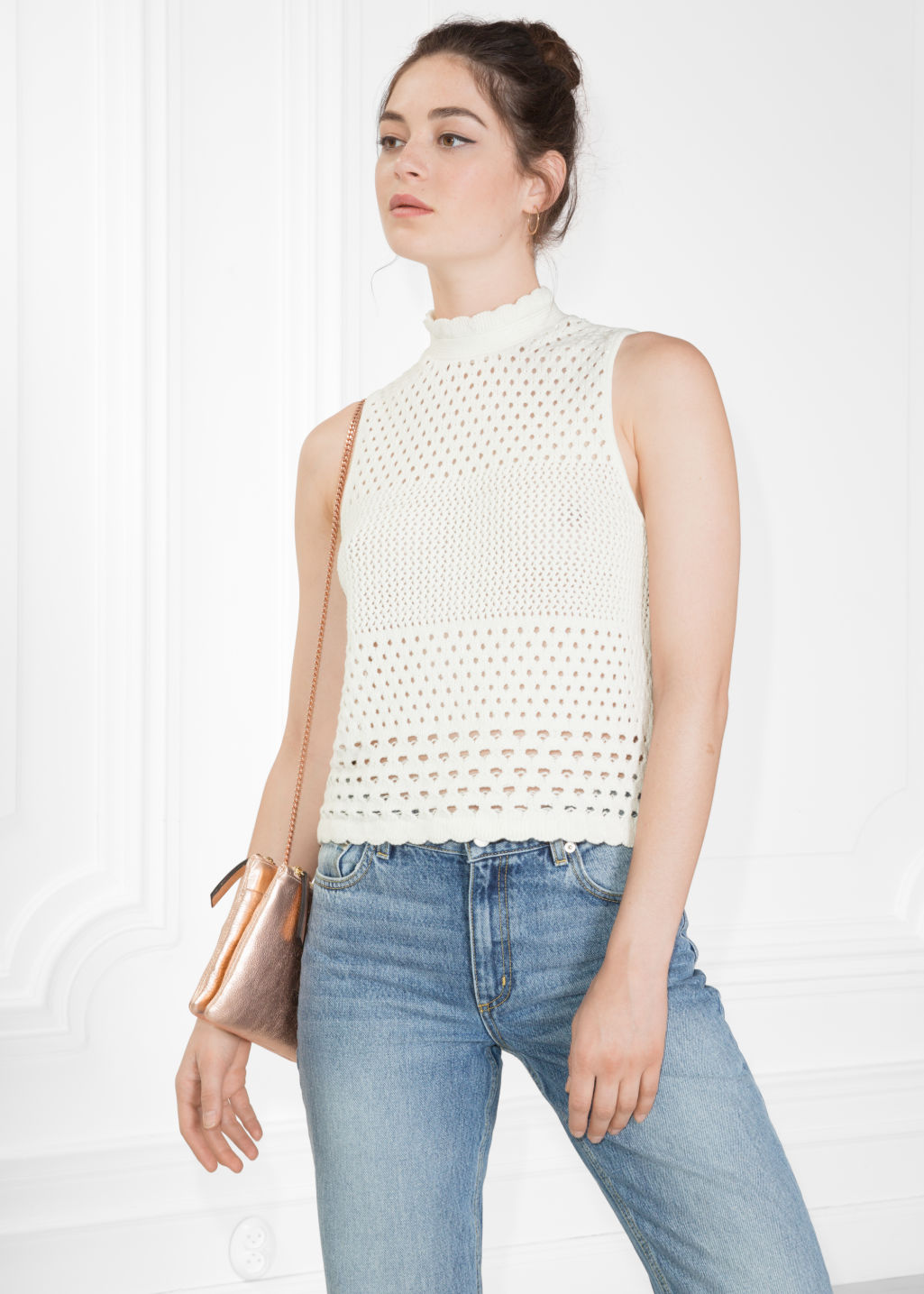 Model front image of Stories crochet top in white