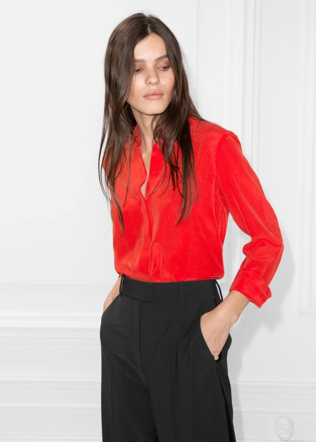Model front image of Stories collared silk shirt in red