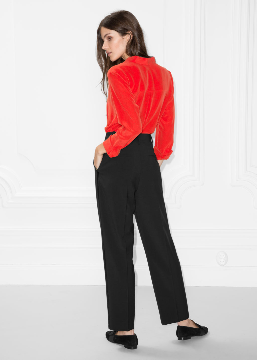 Model back image of Stories collared silk shirt in red