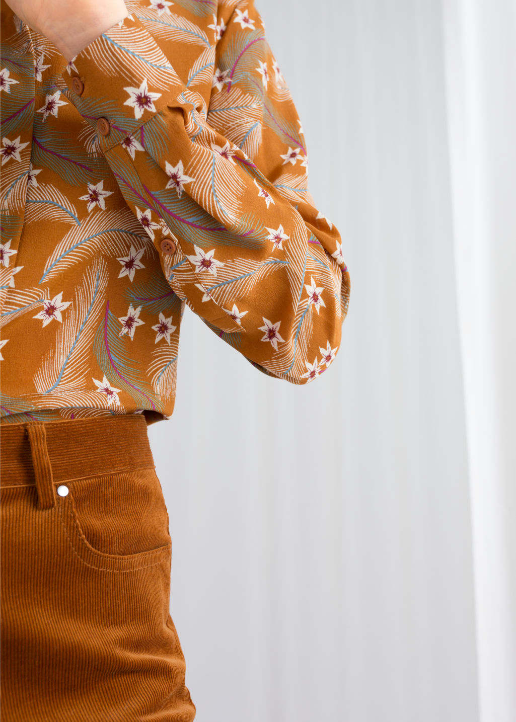 Model back image of Stories collared silk shirt in orange
