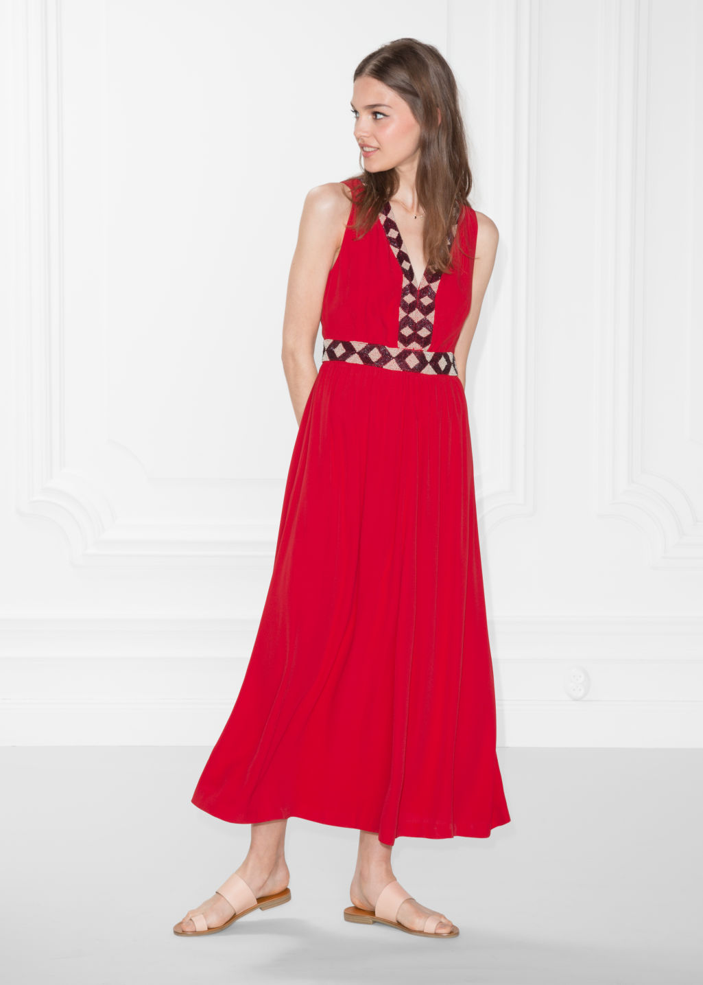 Model front image of Stories embroidery maxi dress in red