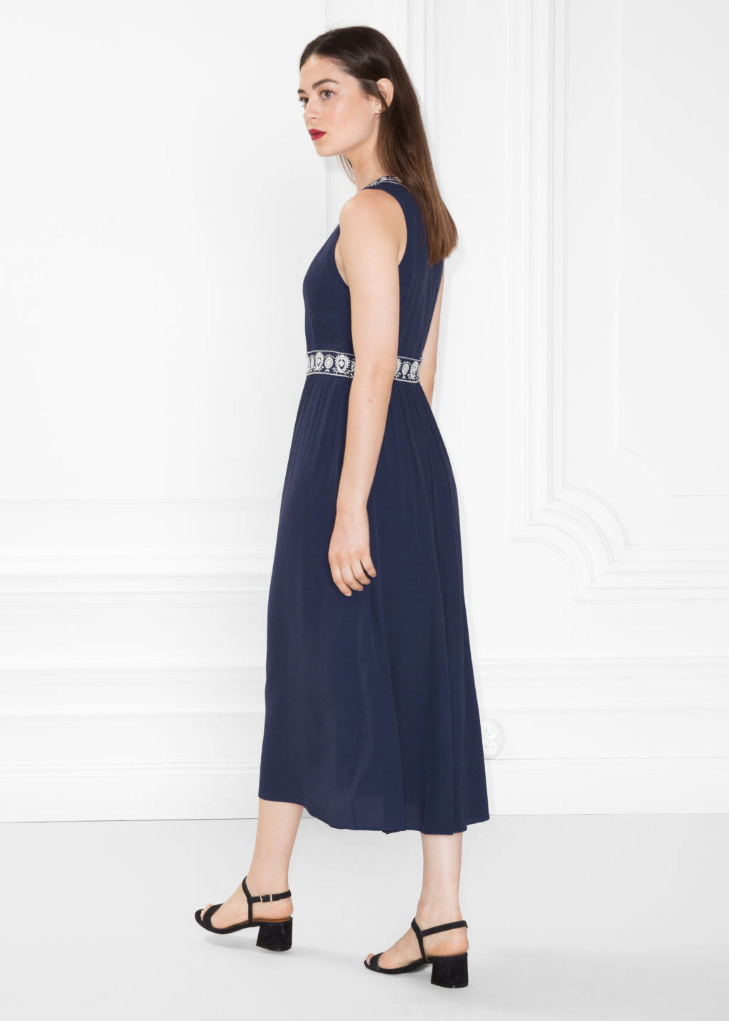 Model back image of Stories embroidery maxi dress in blue