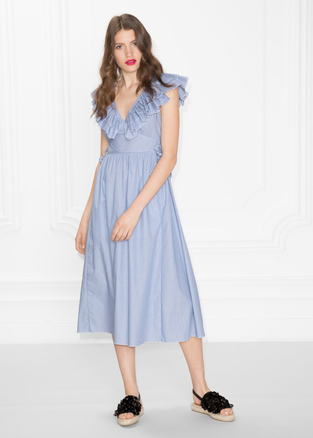 Model front image of Stories frills and ties dress in blue