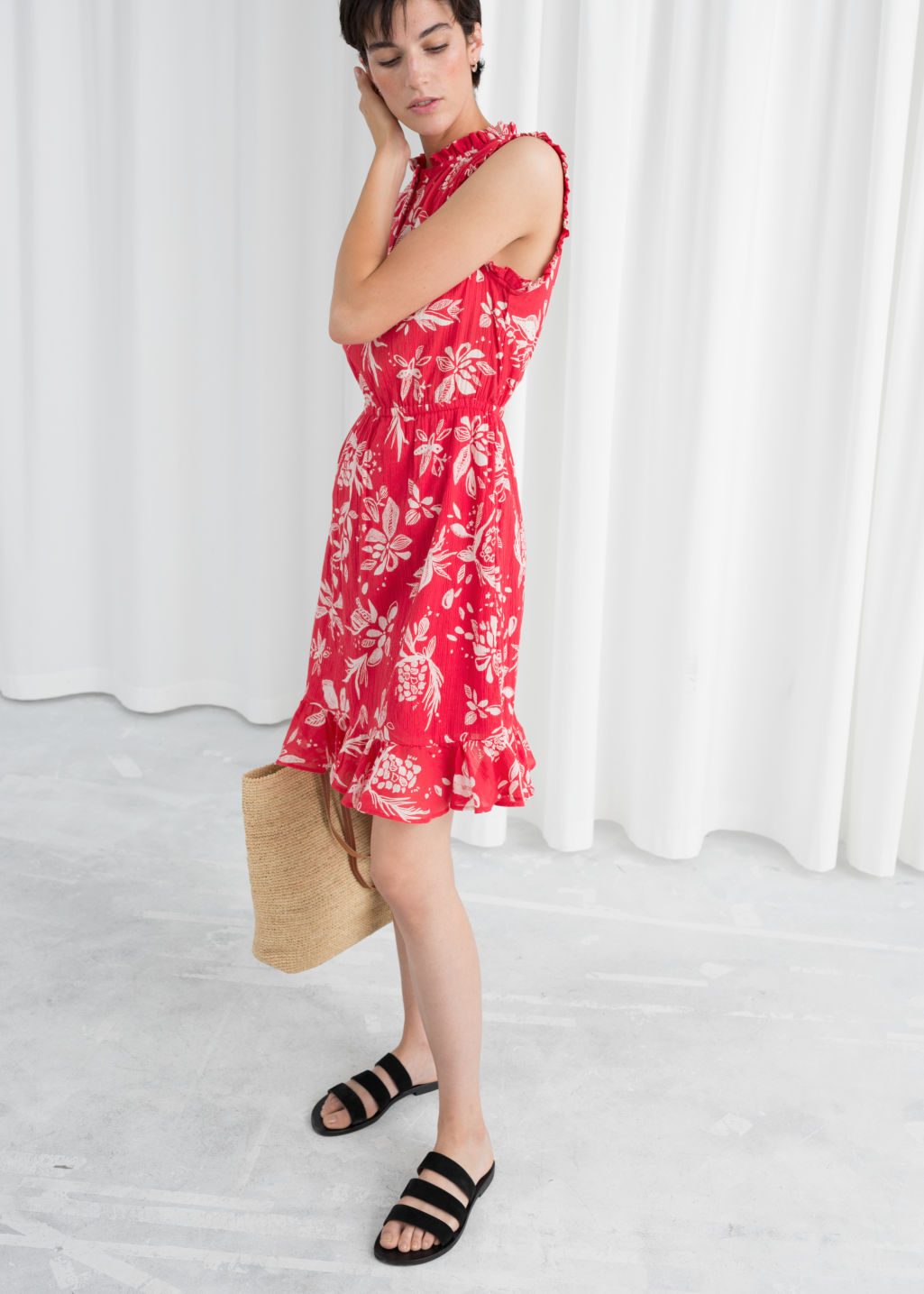 Model front image of Stories sleeveless frill dress in red