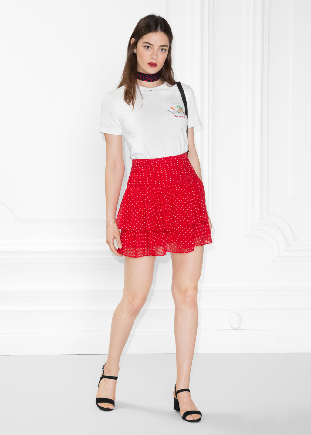 Model front image of Stories frill skirt in red