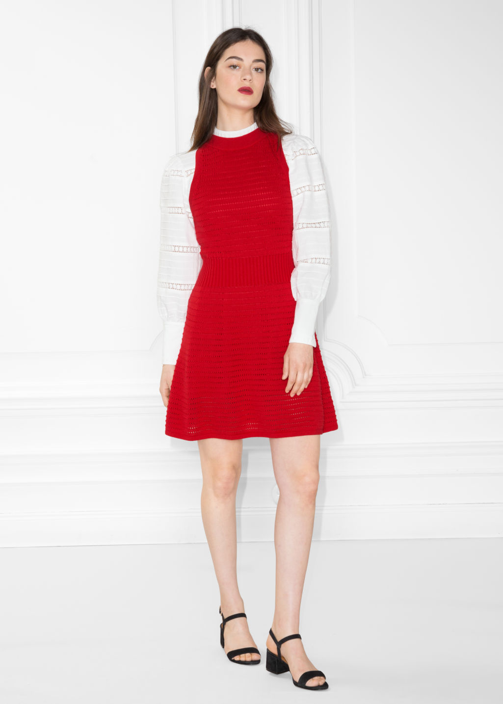 Model front image of Stories pointelle knit dress in red